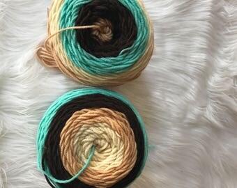 Sugarwheel Yarn, Yarn Bee, Whipped Mocha, Ombre Yarn, Cake Yarn, Color Block Yarn, Acrylic Yarn, Weaving Materials, Knitting or Crochet