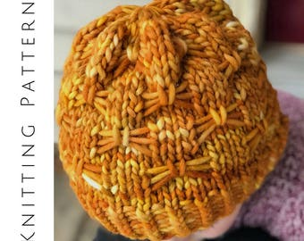 Knit Beanie Pattern, Knitting Pattern, Butterfly Slouchy, Super Bulky Knit, Anorack Beanie, Textured Hat, Easy Hat Tutorial, Roving Pattern