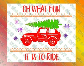 SVG Cut File Christmas Tree Jeep Vintage Shirt What fun to Ride Instant Download