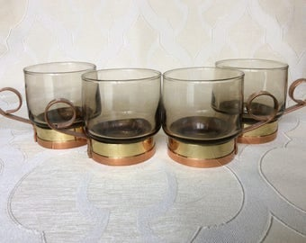 Beucler Brass Copper and Glass Coffee Cup
