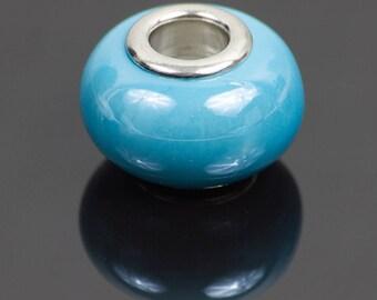 2 European style blue ceramic beads