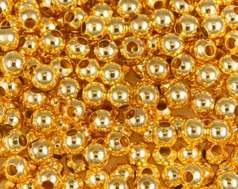 100 beads 4mm round Golden