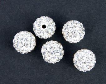 50 10 mm grade A white shamballa beads