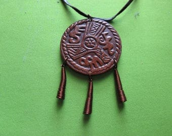 """Vintage 1970""""s-Real Leather necklace-pendant-Engravings-Zodiac-Cooper wire-One of kind-Hand crafted-made product-Unique Engravings"""