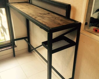 Raw wood and steel console table