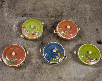 Vintage Mexican Hand Painted Bowls with Lids