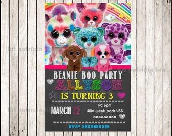 Beanie Boo chalkboard party Invitation, Beanie Boo invitation, Beanie Boo chalkboard Birthday Invitation