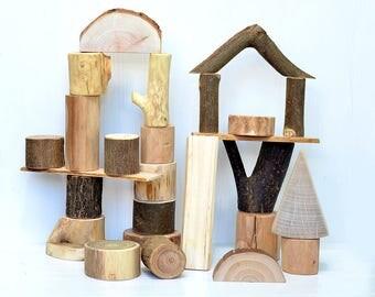 Wooden set of BIG SIZE blocks, Wooden toys, Tree blocks, Personalized wood toy, Developmental toys, Kids birthday gifts, Waldorf education
