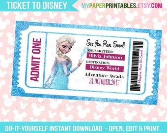 Elsa Disney Frozen Princess Printable Ticket To Disney DIY Personalize INSTANT DOWNLOAD Disney World Disneyland Surprise Disney Frozen