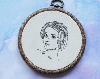 "Audrey Hepburn embroidery hoop art in 5"" hoop. Home decor; embroidered art; female celebrity portrait"