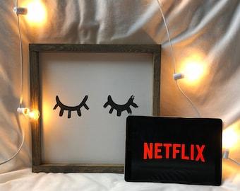 Eyelid Wood Sign, Bedroom Wall Art