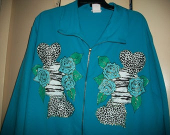 Vintage Plus Size Turquoise Thin Jacket with Hearts and Roses Size 2X-3X