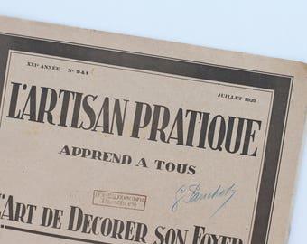 L'Artisan Pratique French handcraft magazine July 1929