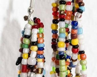 Multi strand colorful beaded earrings