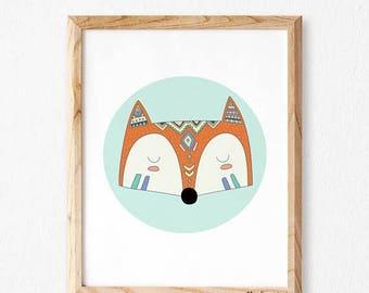 Fox wall art Studio M, Cute fox print, Animals print, Safari wall decor, Cute animals, Nursery wall art, Nursery decor, Art for kids, Fox