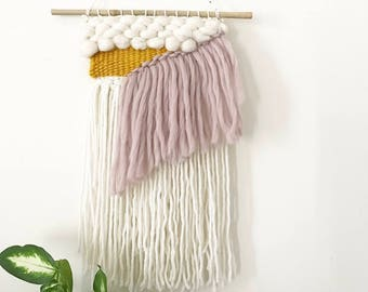 Mink and Mustard Coloured Fringed and Textured Woven Wall Hanging