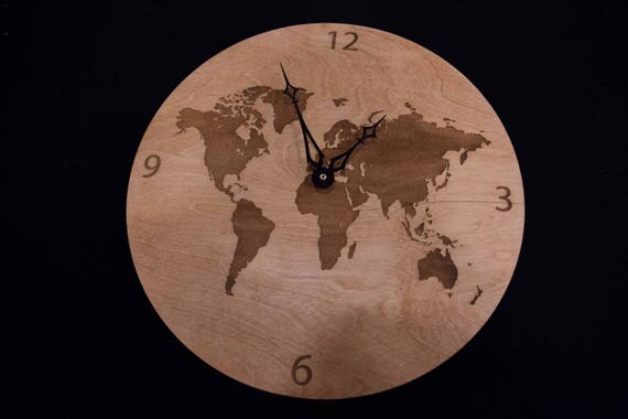 World map wooden clock like this item gumiabroncs Choice Image