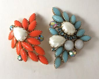 Vintage Mid Century Orange & Turquoise Brooches Opaque Rhinestones Faux Pearls and Moonstones
