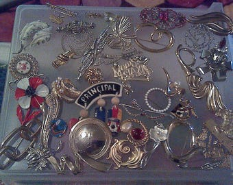 Vintage costume jewelry  56 pins,brooches,signed and unsigned,
