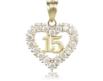 10K Solid Yellow Gold Cubic Zirconia Heart Sweet 15 Pendant - Love Quinceanera Anos Birthday Necklace Charm