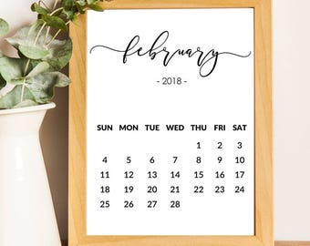 2018 february calendars to print