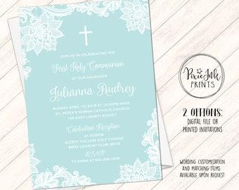 Turquoise invitation etsy communion invitations lace 1st communion invitation cross communion invitation diy communion printable solutioingenieria Choice Image