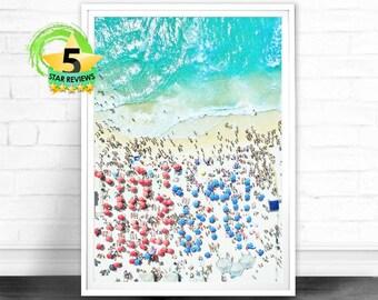 Aerial Beach Print, Digital Download, Beach Art Print, Beach Life, Modern Beach Poster, Sea Print, Teal Decor, Beach Photography, Busy Beach