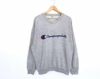 Rare!! Vintage Champion Big Logo Pullover Jumper Sweatshirt