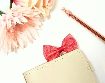Pink Swirls Fabric Bow Planner Clip