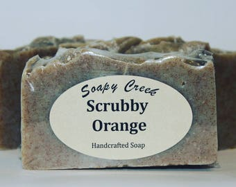 Scrubby Orange Soap, Natural Soap, Handmade Soap, Cold Process Soap, Handcrafted Soap, Homemade Soap, Mens Soap, Bar Soap, Mechanics Soap