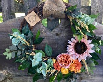 Fall wreath autumn wreath sunflower wreath peach wreath pink wreath rose wreath door wreath fall decor