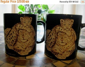 Christmas In July Sale Snow Leopard Mugs, Set of Two, National Wildlife Federation, Black Mugs, Vintage 1990's, Endangered Animals