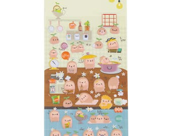Puffy stickers, small potato in 3D with assorted designs