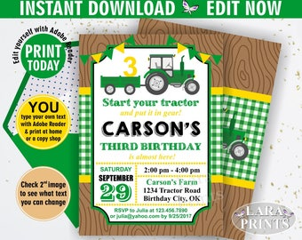 INSTANT DOWNLOAD / Birthday Invitation / Tractor / Birthday Invite / Yellow / Woodland / Green / Plaid / Boy / Farm / BDT2