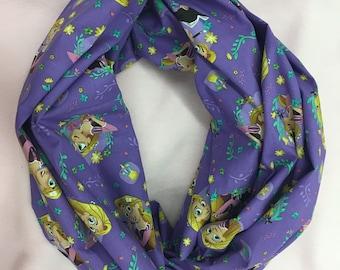 """Rapunzel Infinity scarf, 23"""" infinity scarf, purple infinity scarf, disney infinity scarf, single loop infinity scarf, youth infinity scarf"""