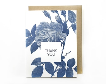 Thank You Flower Letterpress Greeting Card, Gratitude, Friendship, Floral, Rose Card