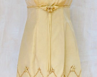 Classic 1960s 60s,all rayon,pale gold,mod, embellished ,detailed,evening,bridal,black tie,under bust,bodice,dress
