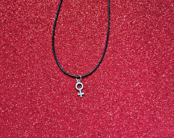 Feminist necklace symbol of Venus (handmade)