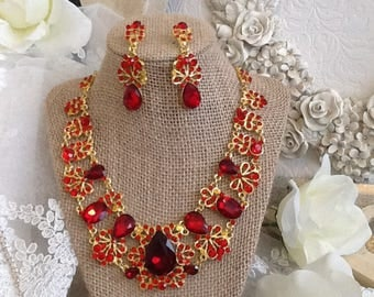 Ruby Red Rhinestone Statement Necklace and Earring Set