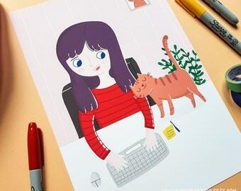 Illustration print - Cat love - A4/A5 or A6 Digital fine art print, print for nursery/studio, wall art.