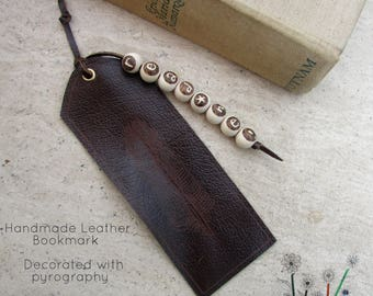 Personalised Leather Bookmark Gift, Teacher Bookmark Gift, Real Leather & Wooden Beads, Personalised Gift, Stationery Book Gift, Custom Gift