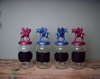 Upcycled Pegasus/Unicorn Storage Jars