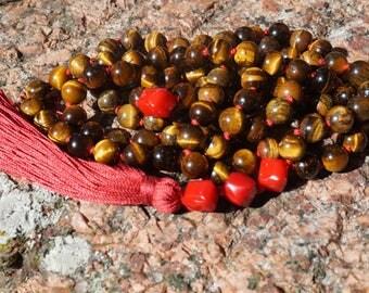 Tigers eye,coral, 108 bead Mala