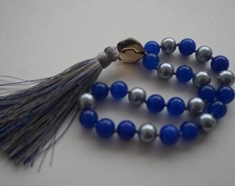 Sri Lanka Sapphire,Pearl, Smoky Quartz Gurubead, 27 bead Mala