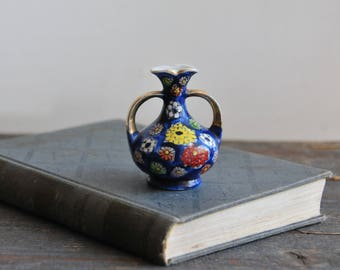 vintage miniature vase, hand painted small vase, blue vase, floral vase, collectible vase,  mini vase