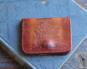 small vintage hand tooled leather wallet, COFV23