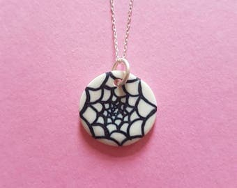 Handmade, porcelain pendant with succulent inspired design, on an 18in sterling silver necklace
