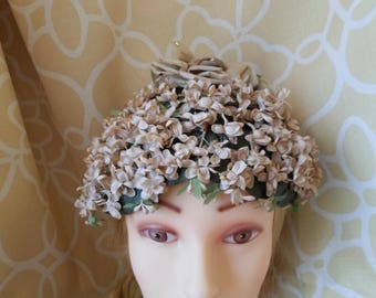 Vintage Filbert Orcel Jr. Paris -  Gorgeous Latte Brown Flower Hat with Crystal