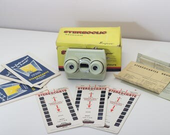 "Stereoclic super 3D viewer - Vintage French ""stéréocarte"" slide viewer - 1960's stereoscope"