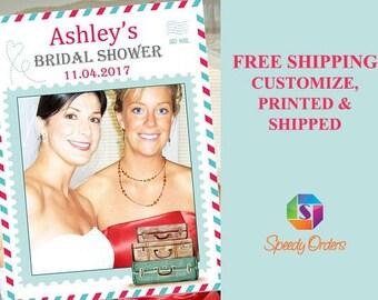 Large Custom Travel Bridal Shower Photo booth prop, Bridal Shower Photo Prop, Bridal Shower Photo booth frame, Bridal Shower frame ;10011279
